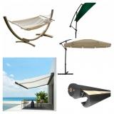 1- Τέντες σκίασης οικιακές - 2 ομπρέλες σκίασης - 3 αιώρες κούνια κρεβάτι κηπου